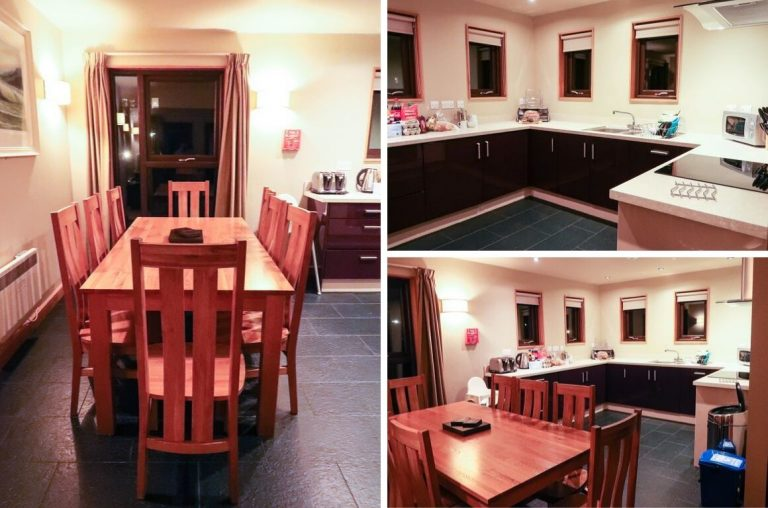 A photo collage of the dining space and kitchen in the Grassholm Lodge, Bluestone Resort