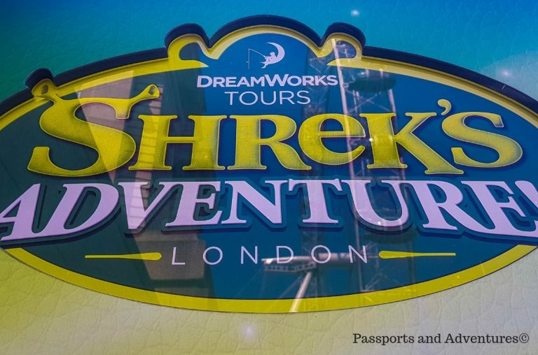 The sign for the Dreamworks Tours Shrek's Adventure, London