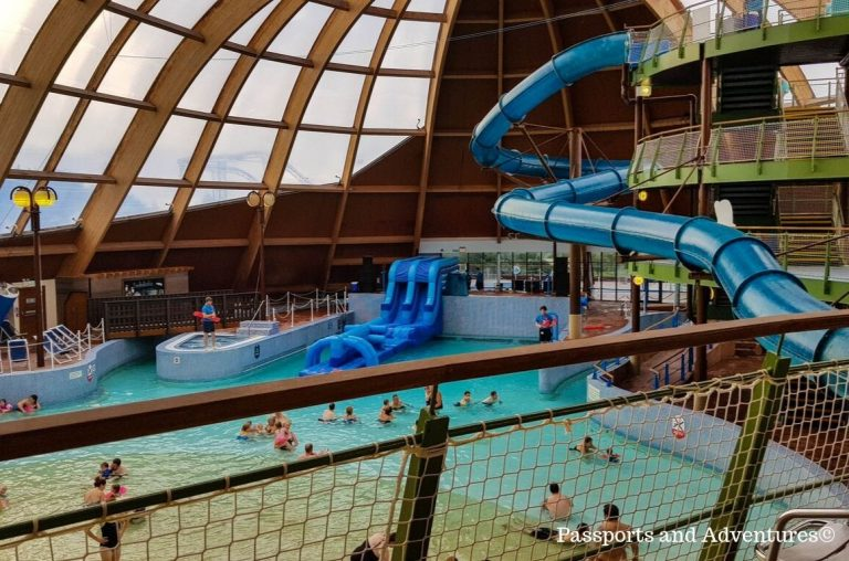 A picture of the chutes and inflatable slides in the Blue Lagoon in Bluestone, Wales