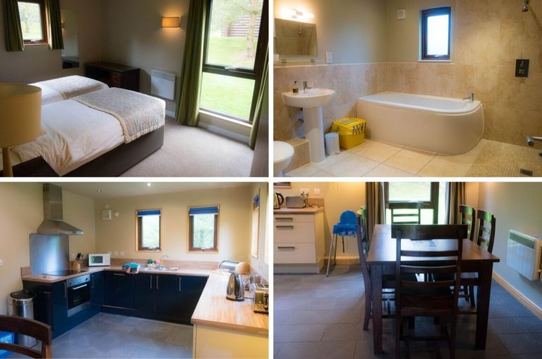Photo collage of the downstairs bedroom, bathroom, dining area and kitchen of the Bluestone Skomer Lodge