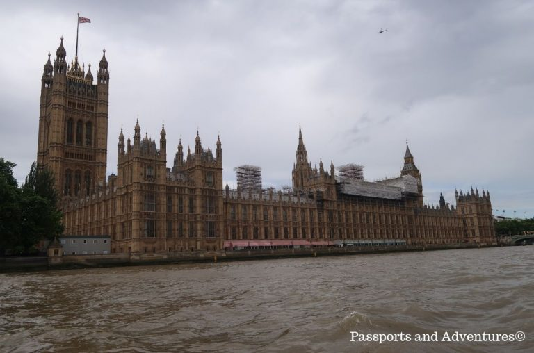 The Houses of Parliament in London from the River Thames
