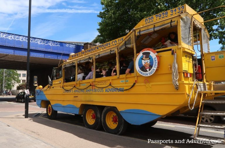 A yellow and blue amphibian vehicle used for the Duck Tours, London