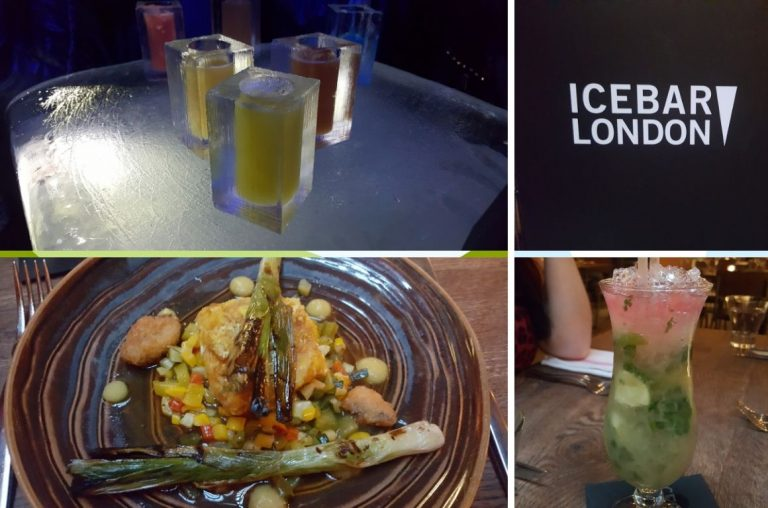 A picture collage of drinks and food from the Ice Bar in London, one of the awesome things to do on a girls weekend in London