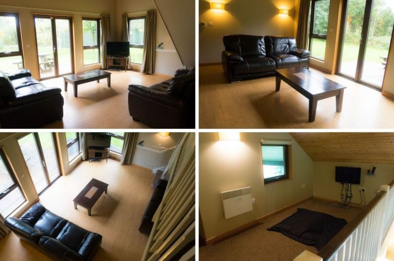 Photo collage of the living room and upstairs relaxing area in the Bluestone Skomer Lodge