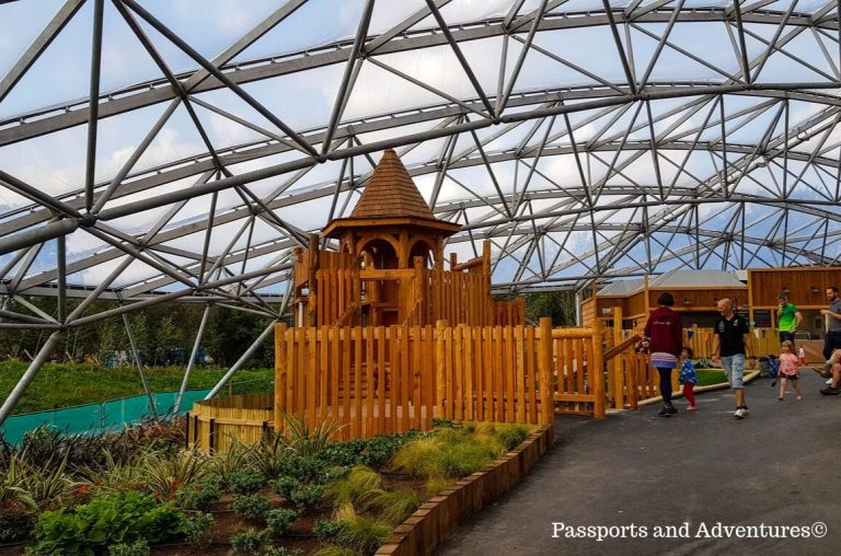 The Sand play area in the Serendome at Bluestone, Wales with its wooden castle playhouse