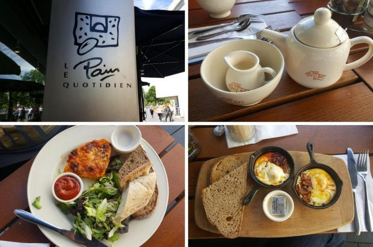 A picture collage of food and drinks at Le Pain Quotidien, Southbank