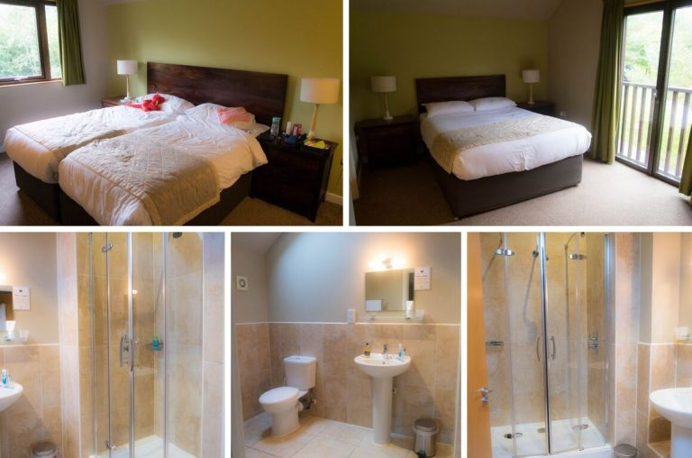 Photo collage of the upstairs bedrooms and bathrooms in the Skomer Lodge, Bluestone, Wales