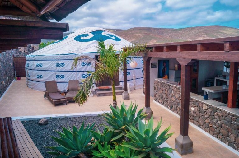 A picture of a yurt and part of the resort at the Fincade Arrieta Eco Resort in Lanzarote