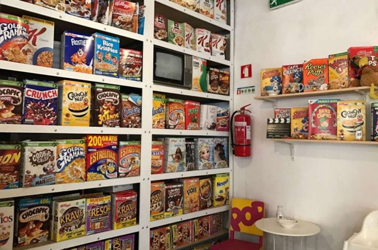Cereal bar shop in Lisbon with shelves full of cereal boxes