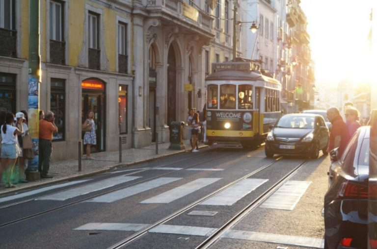 A picture of one of the famous yellow trams in Lisbon