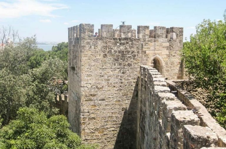 The castle walls of Castelo de Sao Jorge in Lisbon