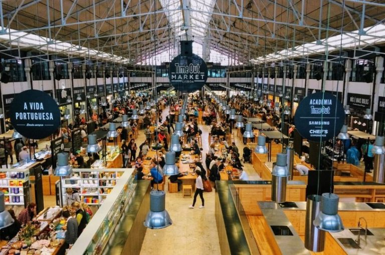 A picture of the stalls on the floor of Time Out Market in Lisbon