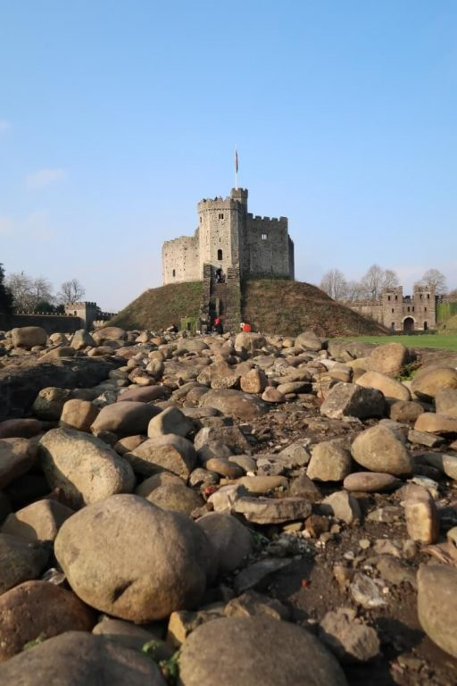 A view of the Norman Keep in Cardiff Castle from within the grounds
