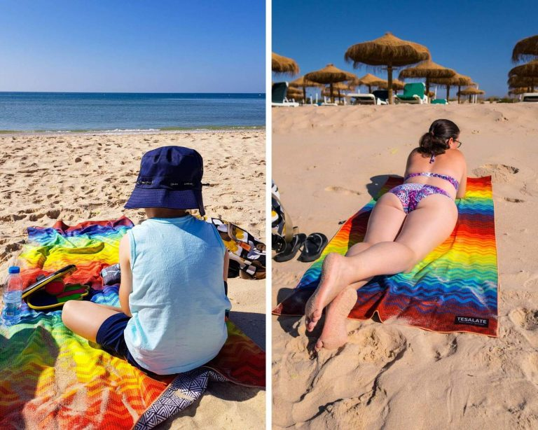 A collage picture of people sat on Tesalate towels on sandy beaches