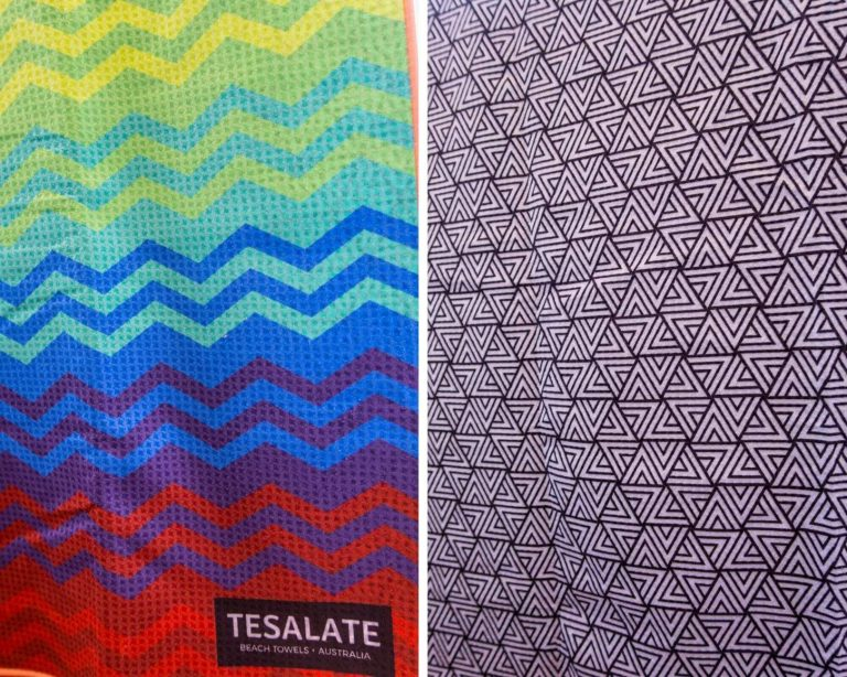 A collage picture of the front and back of a Tesalate beach towel