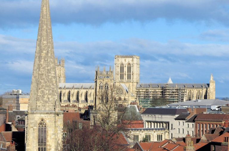 A roof-top view of the city of York