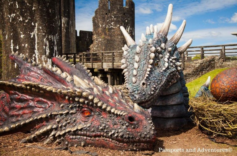 A close-up picture of the faces of the red and blue dragon at Caerphilly Castle with a nest beside them containing two eggs and the castle in the background
