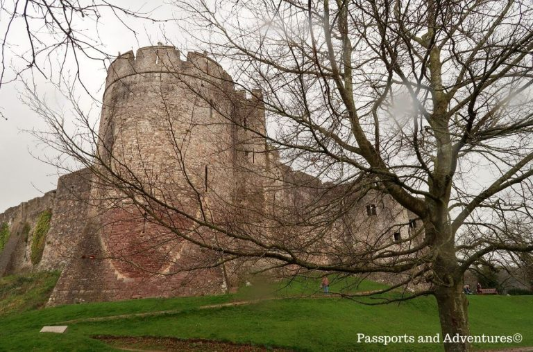 A view of Chepstow Castle from below