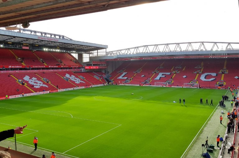 A picture from within the stadium at Anfield, home to Liverpool FC, on match day from the upper Anfield Road stand