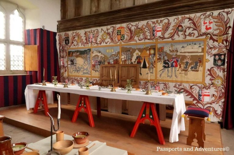 A picture of one of the dining halls (with recreated laid tables) at Tretower Court and Castle