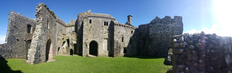 A panorama picture of the interior of Weobley Castle, Wales