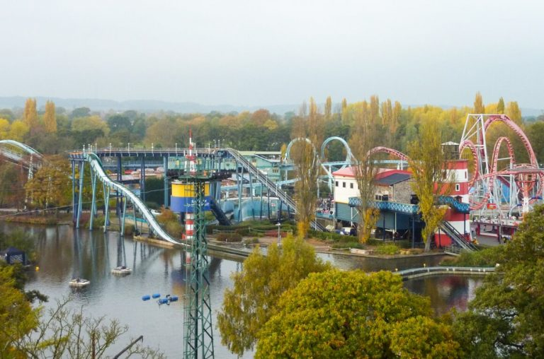 A view of some of the roller-coasters at Drayton manor theme park, UK
