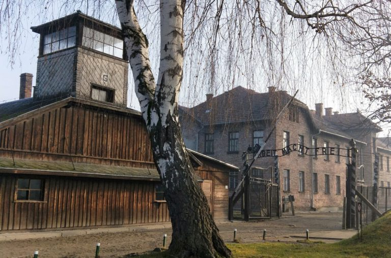A picture of buildings in Auschwitz