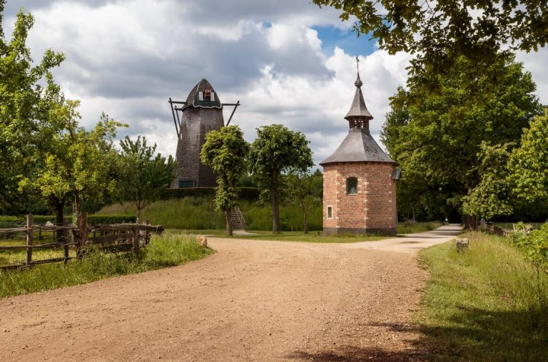 A picture of a path and buildings at Bokrijk