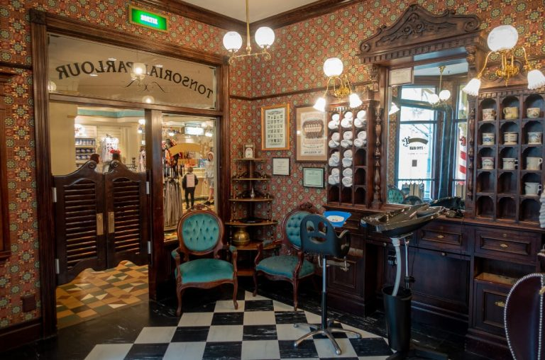 A picture inside the barber shop at Disneyland Paris