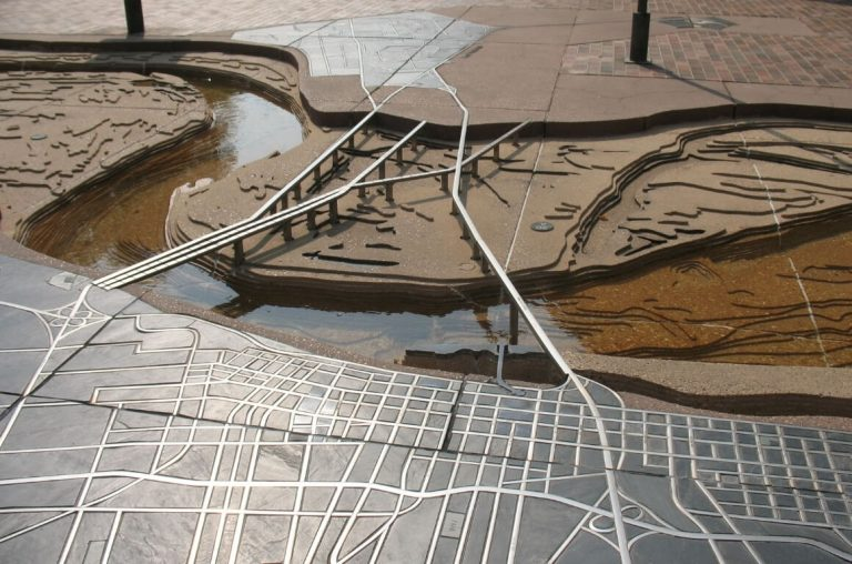 A picture of a diagram of Mud Island