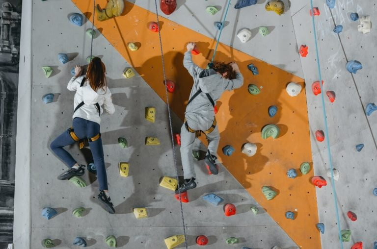A picture of two teenagers attempting a bouldering walls.