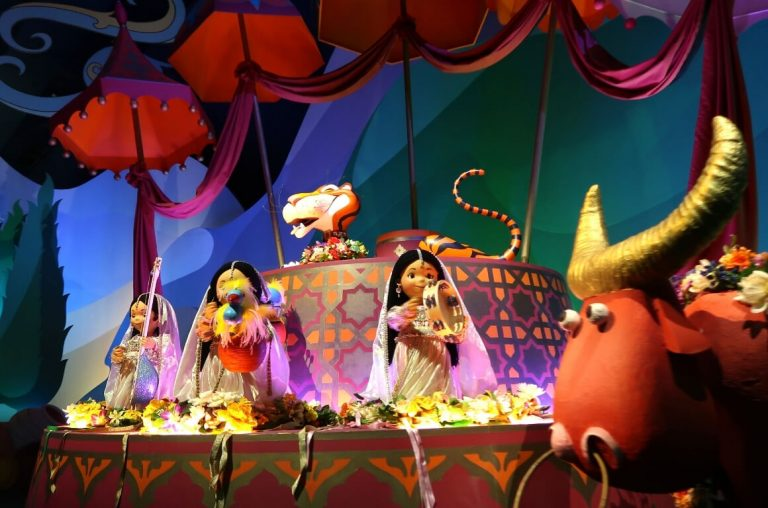 A birght and colourful scene from It's A Small World ride at Disneyland Paris