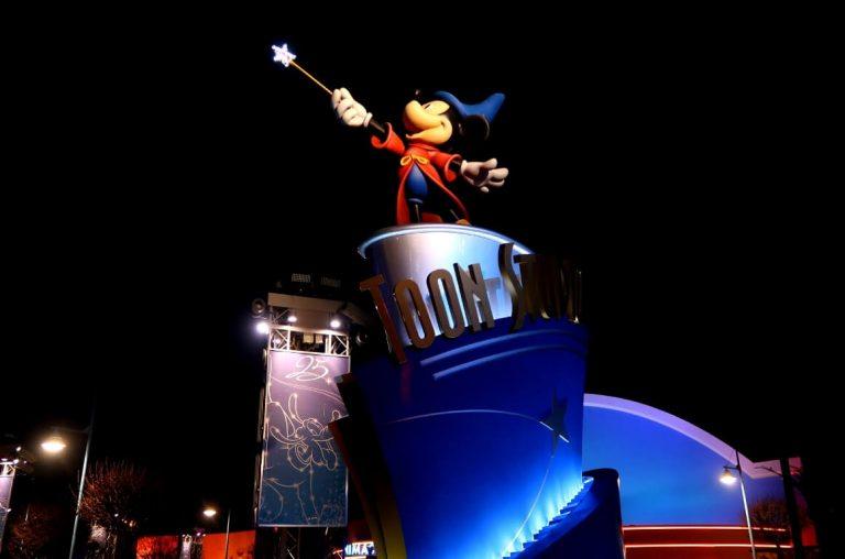 A Mickey Mouse wizard statue in the Walt Disney Studios in Disney Paris