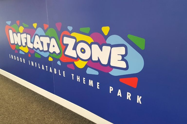 The sign from Inflata-Zone in Dublin, an inflatable play area