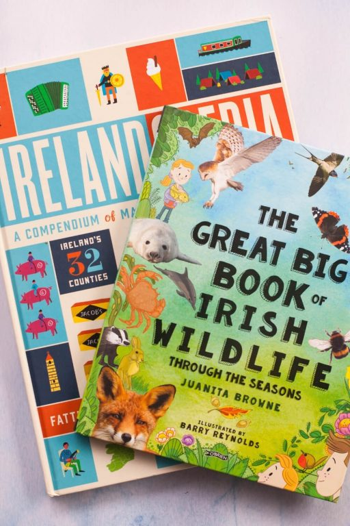 A picture of two of the best books about Ireland for kids, Irelandopedia and the Great Big Book of Irish Wildlife Through the Seasons