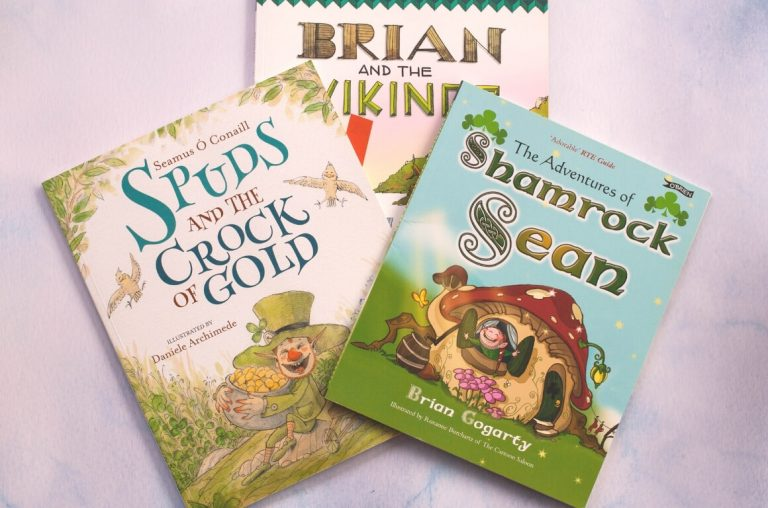 A picture of three of the best books set in Ireland for kids, Shamrock Sean, Spuds and the Crock of Gold, and Brian and the Vikings