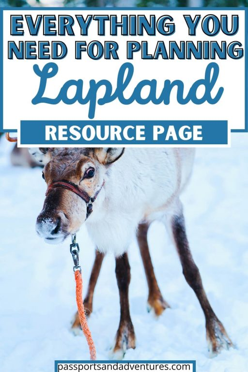 A picture of a reindeer in the snow with text overlay saying: Everything you need for planning Lapland is in this resource page.