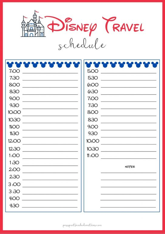 A Disney planning sheet for planning a daily Disney schedule