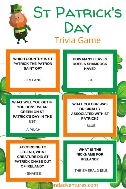 picture with quiz questions for a St Patrick's day Trivia Game for kids