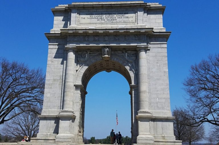 The arch monument in Valley Forge National historic Park