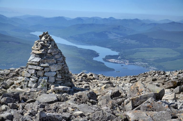 A picture of a lake from the top of a Scottish Munro