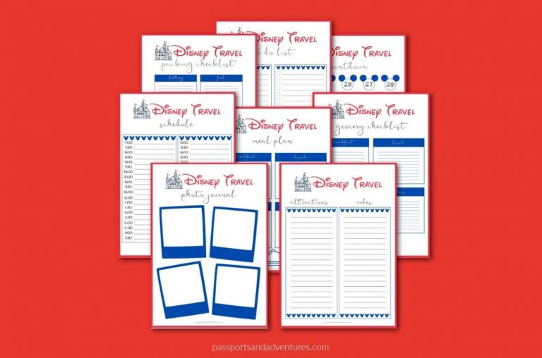 A picture of 8 Disney-themed planning sheets on a red background