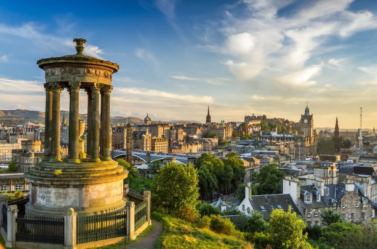 A picture of the Edinburgh skyline, one of the best things to do in Scotland with kids