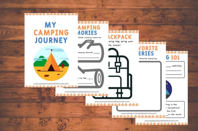 A picture of five pages of a printable camping journal for kids on a wooden background