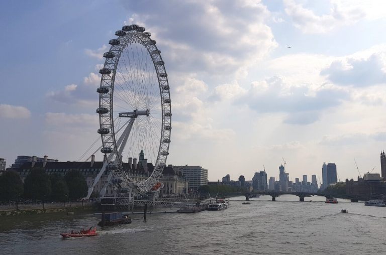 A picture of the River Thames with the London Eye.