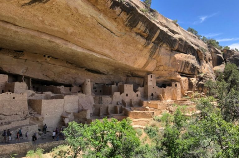 A picture of the dwellings in the rock face at Mesa Verde National Park