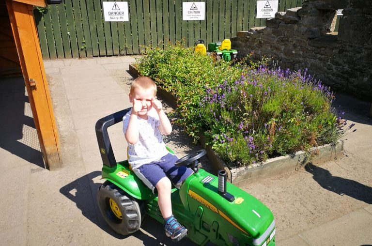A picture of a boy on a green toy tractor with his thumbs up