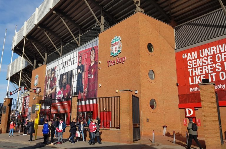 A picture of the outside of the KOP stand at Anfield Road Stadium, home to Liverpool FC