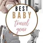 A grid of four pictures showing some of the best baby travel gear for new parents
