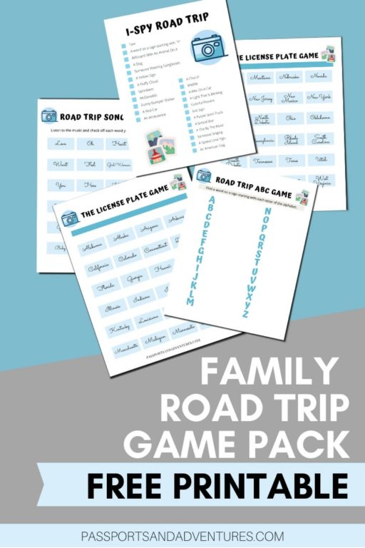 A picture of five pages from a road trip games for kids printable pack with text overlay.